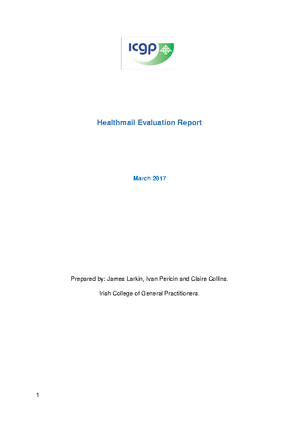Healthmail Evaluation Report Final front page preview
