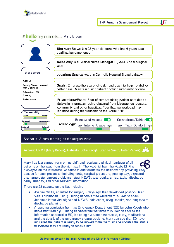 Acute HSP Clinical Nurse Manager 1 Mary Brown v1.0 front page preview