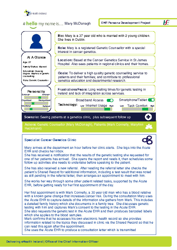 Acute HSP Genetic Counsellor Mary McDonagh v1.0 front page preview
