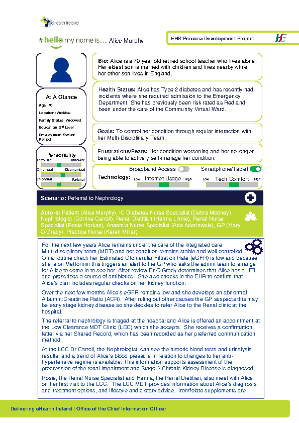 Integrated Care Persona Alice Murphy Scenario 3 v1.0 front page preview