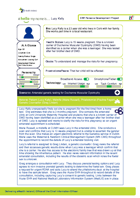 Integrated Care Persona Lucy Kelly Scenario 1 v1.0 front page preview