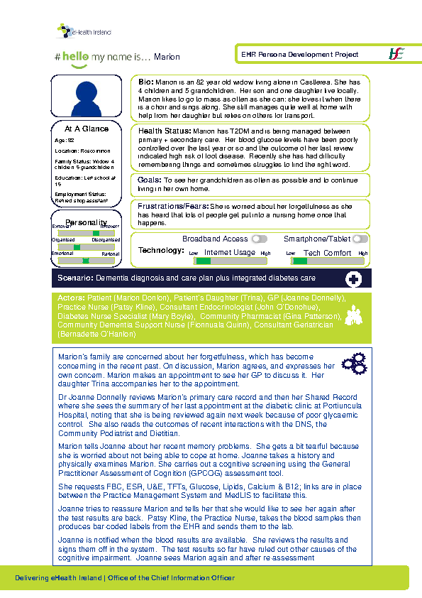 Integrated Care Persona Marion Donlon Scenario 1 v1.0 front page preview