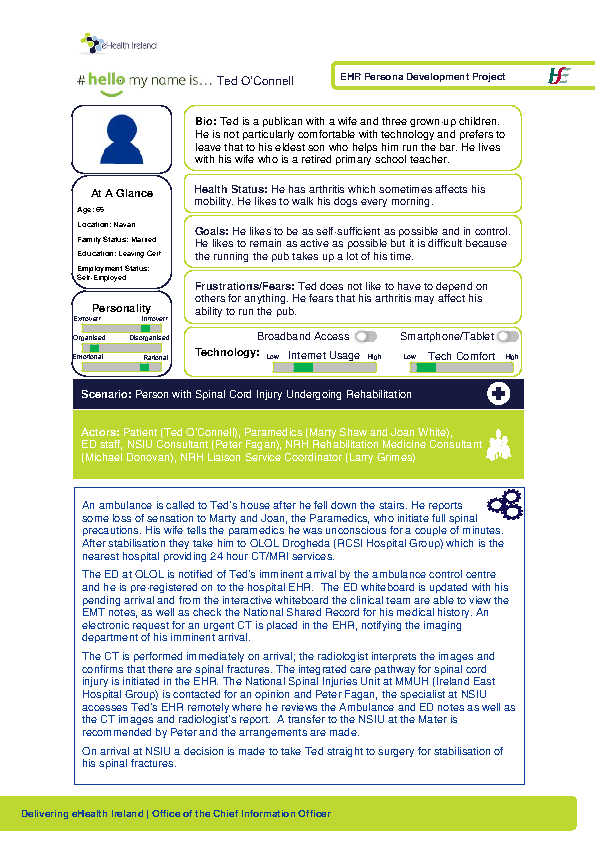 Integrated Care Persona Ted O'Connell Scenario 1 v1.0 front page preview