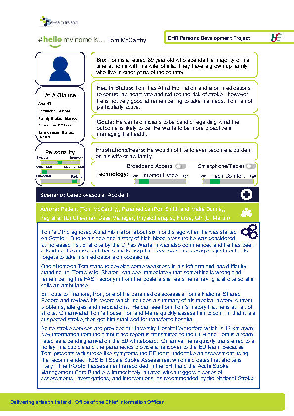 Integrated Care Persona Tom McCarthy Scenario 1 v1.0 front page preview