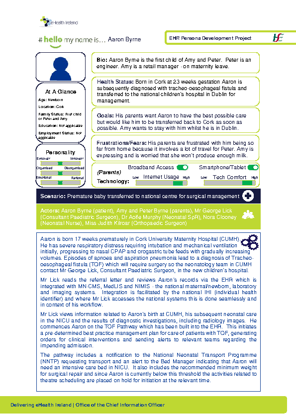 Paediatric Persona Aaron Byrne Scenario 1 v1.0 front page preview