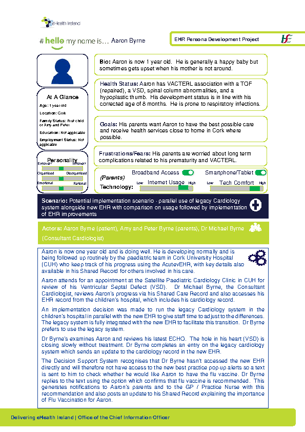 Paediatric Persona Aaron Byrne Scenario 2 v1.0 front page preview