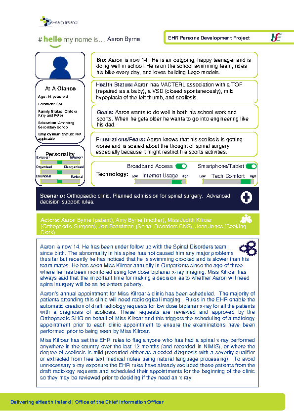 Paediatric Persona Aaron Byrne Scenario 3 v1.0 front page preview