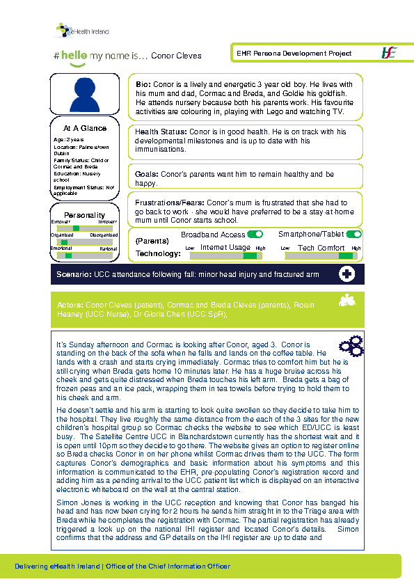 Paediatric Persona Conor Cleves Scenario 1 v1.0 front page preview