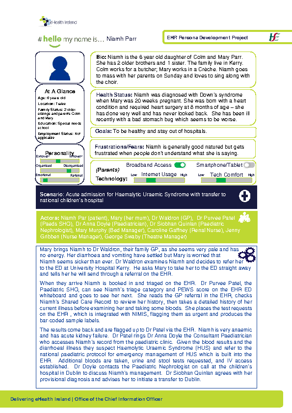 Paediatric Persona Niamh Parr Scenario 1 v1.0 front page preview