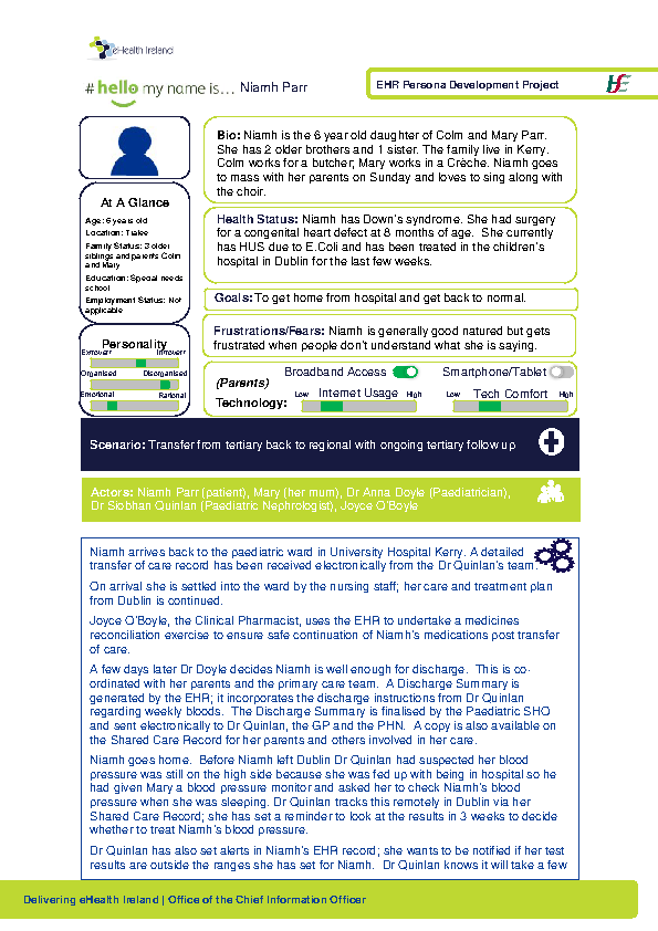 Paediatric Persona Niamh Parr Scenario 2 v1.0 front page preview