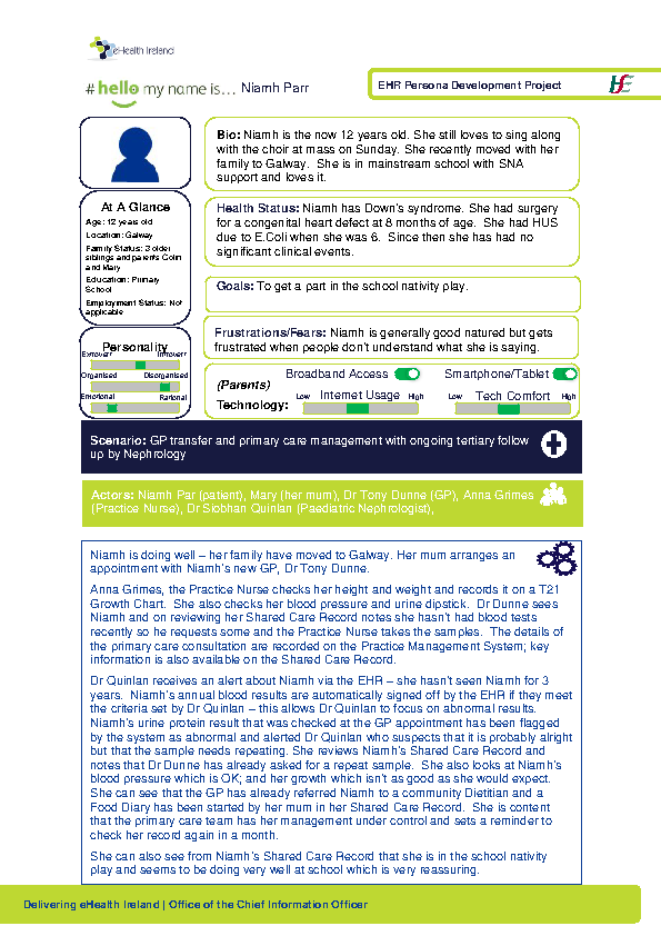 Paediatric Persona Niamh Parr Scenario 3 v1.0 front page preview
